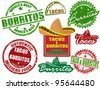 Set of grunge rubber stamps  with  the words tacos and burritos written inside, vector illustration - stock vector
