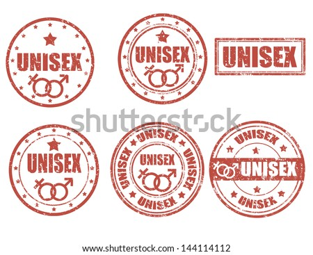 Set of grunge rubber stamps with word unisex inside,vector illustration