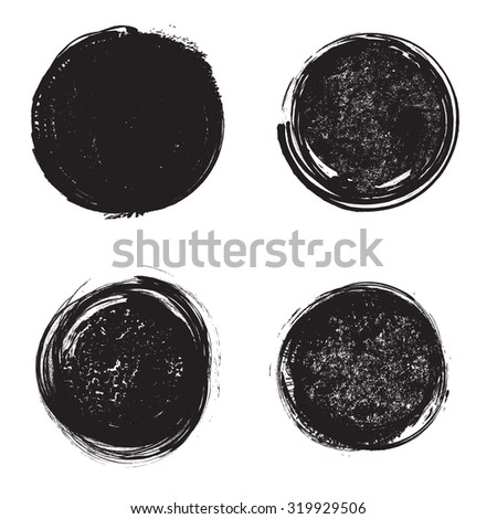 Set of Grunge Rubber Texture Stamp . Distressed Stamp Texture . Post Stamp Collection . Circle Stamps . Rounded Brush Strokes . Vector Illustration . - stock vector