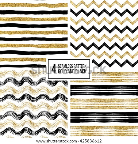 Set of grunge seamless pattern of black gold stripes, waves, zigzag chevron, texture black and golden lines, wavy and zig zag stripes, hand drawn vector pattern for invitation, card, wedding, holiday - stock vector