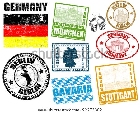 Set of grunge stamps with Germany, vector illustration - stock vector