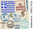 Set of grunge stamps with Greece on vintage background, vector illustration - stock vector