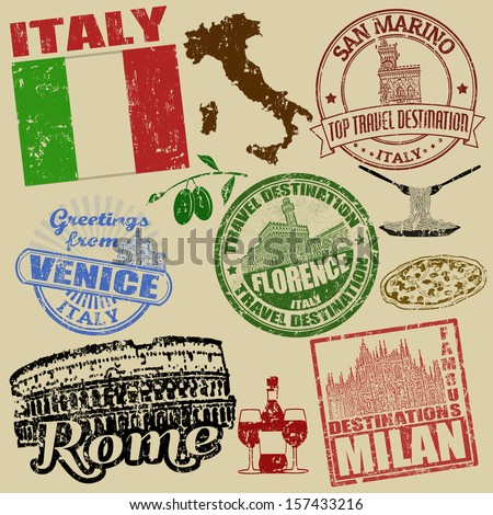 Set of grunge stamps with Italy on retro background, vector illustration - stock vector