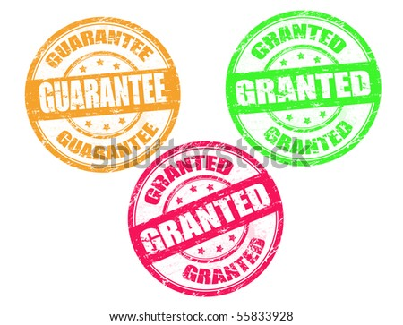 set of grunge stamps with words guarantee and granted written inside the stamp - stock vector