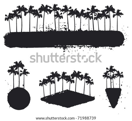 set of grunge summer banner with palms - stock vector