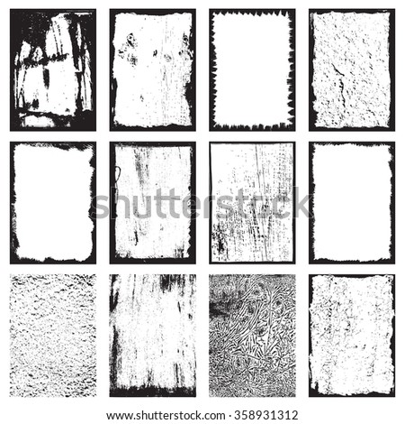 Set of grunge texture frames backgrounds