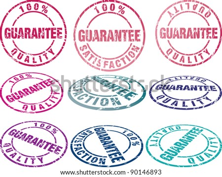 set of grunge vector rubber seals in different colors - stock vector