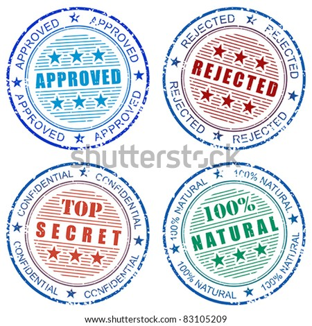 Set of grunge vector stamp prints: Approved, Rejected, Natural and Top secret - stock vector