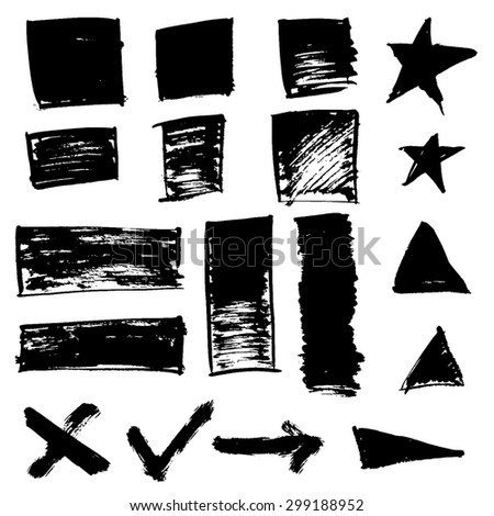 Set of grunge vector textured brush squares and symbols - stock vector