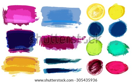 Set of grunge vector textured watercolor brush strokes with transparencies
