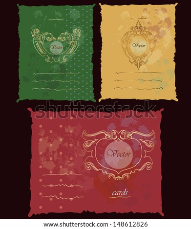Set of grunge vector well-crafted cards with golden frames and lines to place the text; could be used for different occasions such as: a bitrthday card, a scrap-booking page, advertisement or cover - stock vector