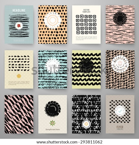 Set of grunge vintage cards with black hand drawn textures. Vector illustration for retro pattern design. Collection of Brochures. Posters, flyers, placards, and banners. - stock vector