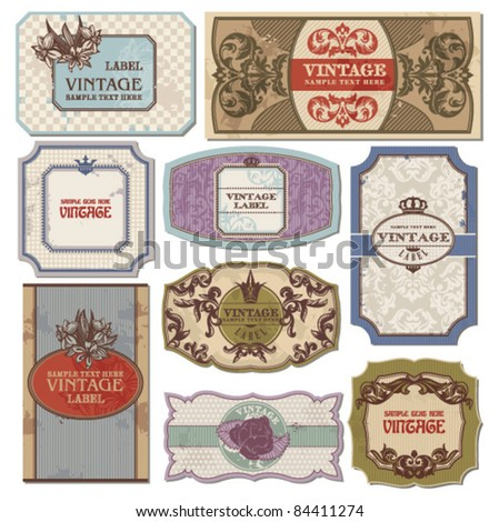 set of grunge vintage labels - stock vector