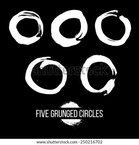 Set of Grunged Circles - stock vector