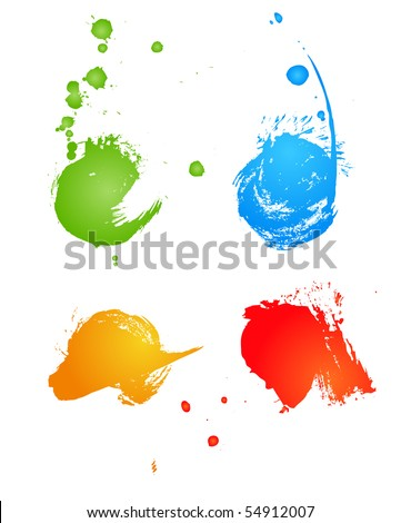 Set of grungy colored banners - stock vector