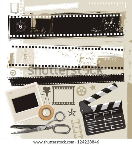 Set of grungy filmstrips and other film related design elements. Retro movie, cinema and photography vector design. - stock vector
