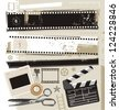 Set of grungy filmstrips and other film related design elements. Retro movie, cinema and film vector design. - stock photo