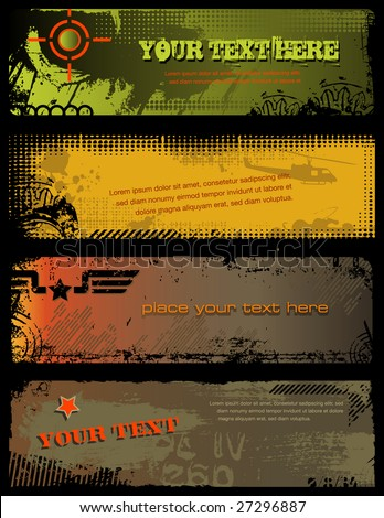 set of 4 grungy military banners - stock vector