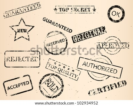 set of grungy old stamps, vector image