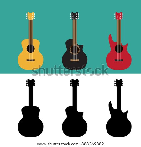 Set of guitar in flat and silhouette style