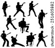 Set of Guitar Player silhouettes. Vector Image - stock vector