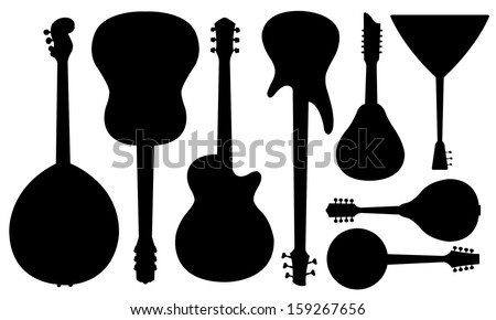 set of guitars isolated on white - stock vector