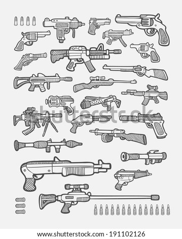 Set of gun icons sketch. Pistol, machine gun, revolver gun, sniper gun, etc. hand drawing style. Good use for your website icons, gun illustration, sticker, or any design you want. Easy to use. - stock vector