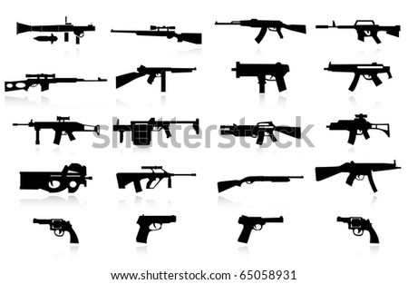 set of guns - stock vector