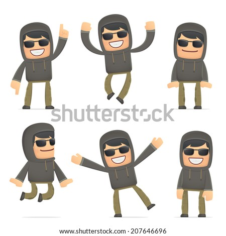 set of hacker character in different interactive  poses - stock vector