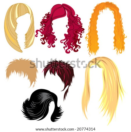 set of hair style samples for woman - stock vector