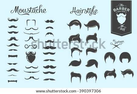 Set of hairstyles, beards and moustaches.  - stock vector