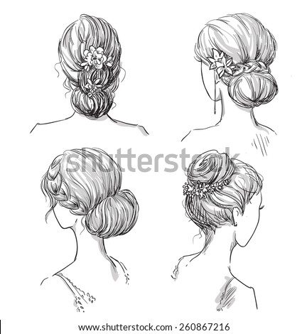 set of hairstyles. Bridal hairdo. Hand drawn. - stock vector