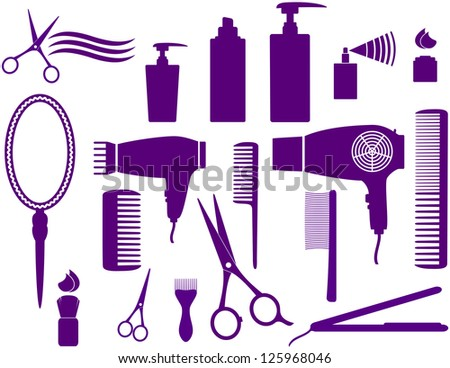 set of hairstyling isolated objects on white background - stock vector