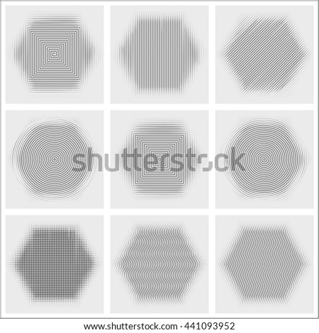 Set of halftone abstract forms