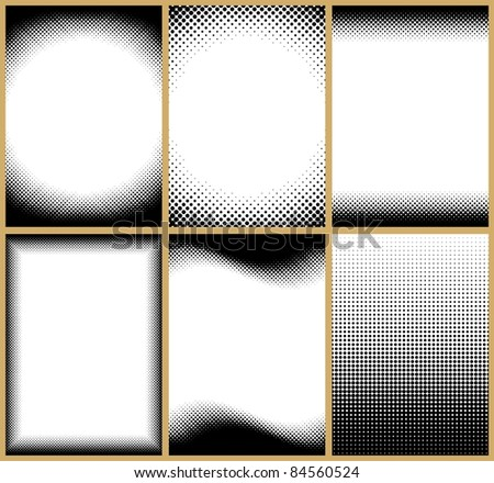 Set of 6 halftone frame patterns. All of them can be tilled vertically. You can also change their height easily. - stock vector
