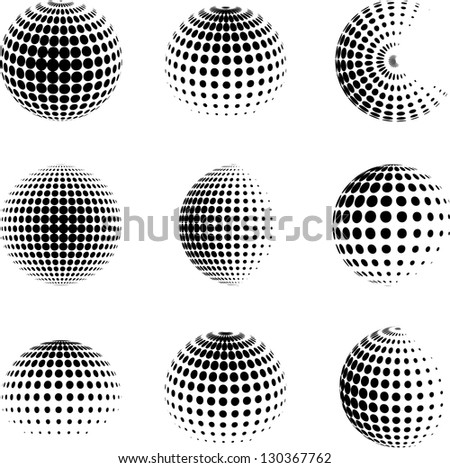 set of halftone spheres. vector illustration