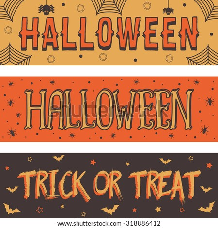 set of halloween banner decorations with lettering - stock vector
