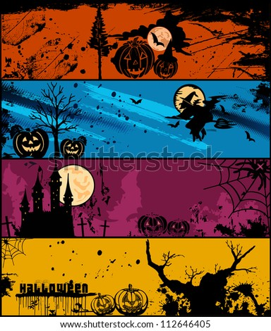 Set of halloween banners in different colors. Vector illustration
