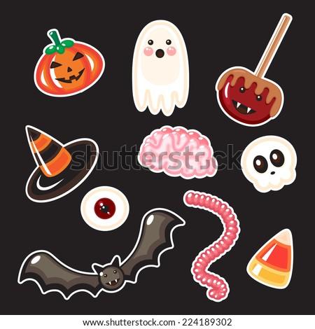 Set of Halloween candies. - stock vector