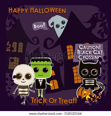 Set of Halloween characters. In this set: skeleton, Frankenstein, ghost, pumpkin, black cat - stock vector