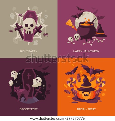 Set of Halloween Concepts. Vector Illustration. Orange Pumpkin and Spider Web, Witch Hat and Cauldron, Skull and Bones. Halloween Night Party. Trick or Treat. - stock vector