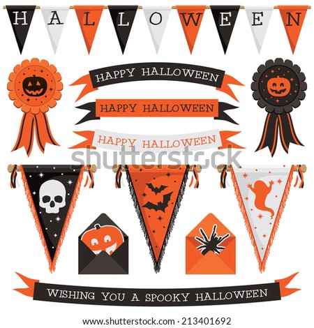 set of halloween decorations with bunting, ribbons, rosettes and pennants, isolated on white - stock vector