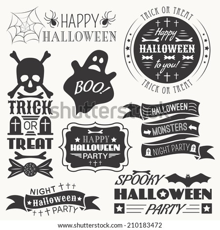 Set of halloween decorative elements. Vector illustration. Monochrome white and black colors version. - stock vector