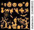 Set of Halloween design elements - stock vector