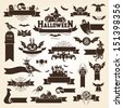 Set of halloween design elements. Monochrome version - stock