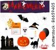 Set of 16 halloween elements. Vector illustration. - stock vector