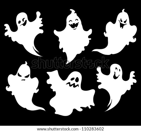 Set of halloween  ghosts for design isolated on background, such logos. - stock vector