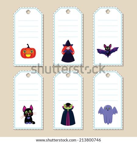 Set of halloween gift tags with funny cartoon characters: bat, vampire, witch, ghost, cat and pumpkin. Some blank space for your text included. - stock vector