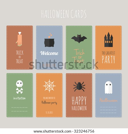 Set of Halloween greeting cards. Horror objects on colorful backgrounds. Bright funny party cards. Templates for web. - stock vector
