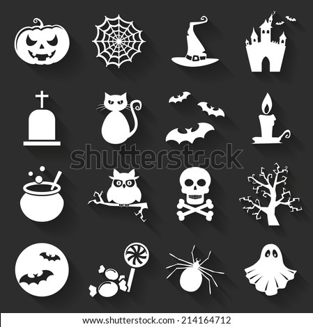 Set of halloween icons. Collection of flat symbols with long shadows. Vector illustration. - stock vector
